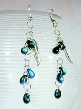 Feather and Raindrops Earrings by EccentricOcean