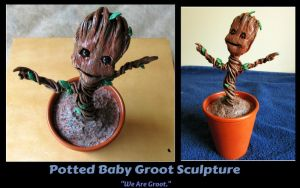 Potted Baby Groot Sculpture - SOLD by MissNioniel