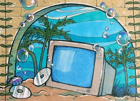ACEO #138: Seapunk Computer by MTToto