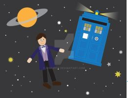 11th Doctor and TARDIS by ashley-f