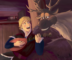 Kristoff and Sven- Reindeer's are better by WitchyTwinzy