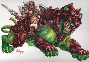 HeMan and BattleCat by PlanetDarkOne