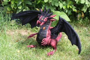 Ember OOAK handmade poseable dragon FOR SALE by DragonForge311088