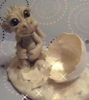 ooak snow baby dragon by crazylittlecritters