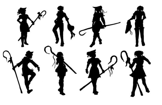 Character Silhouette Practice by Vain138