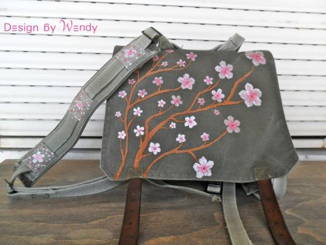 Cherry Blossoms Hand Painted Bag by DesignByWendy