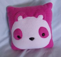 Pink Panda Mini Pillow by CynicalSniper