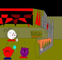 At the haunted house gates... by IttyBitty1996