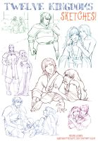 12 Kingdoms Sketches by QueenOfTheCute