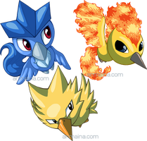 Pokemon Ranch Legendary Birds by armaina
