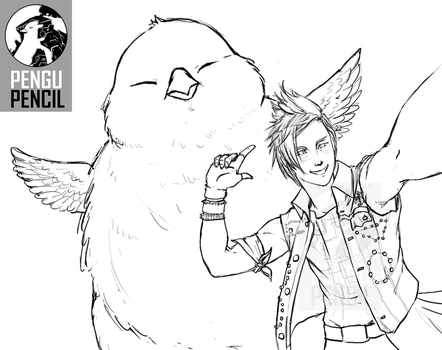 Lineart: Prompto Selfie with Fat Chocobo by PenguPencil