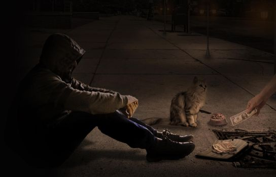 begging with my cat by Ismail-Qutaibh