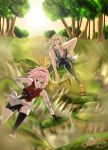 Sakura and Tsunade Training by Celious