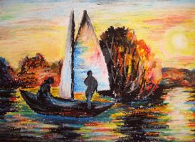 Oil pastels boat at sea by igy7