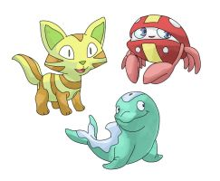 Fakemon Starters for 2014 by facelesscow