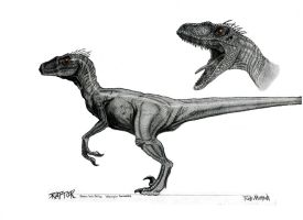 Male Velociraptor Concept Art by yankeetrex