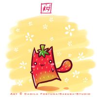 .::Strawberry Cat::. by CamiFortuna