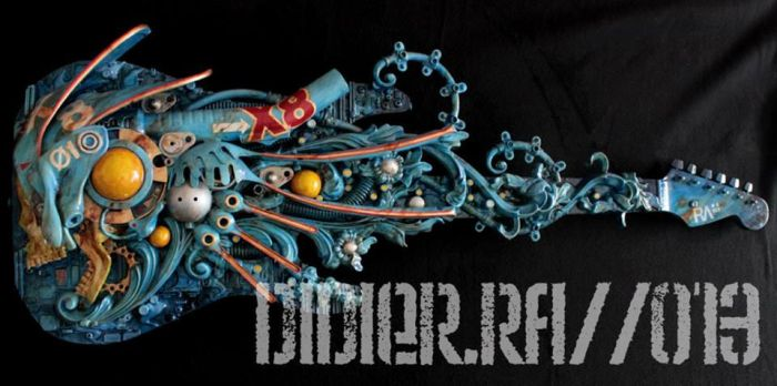-X8- Mixed Media Assemblage on Guitare by DidierRa