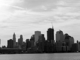 Manhattan From the Hudson: B+W by sympatheic-darkness