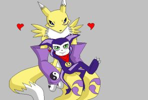 Impmon and Renamon moment by Snowflake-owl