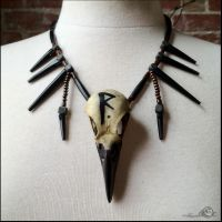 Reise (Journey) Crow Skull Necklace by Elorhan