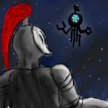 A Knight Finding an Alien Probe at Night by OverdrivenZX