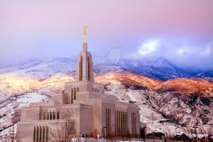 Draper LDS Temple Cool Sunset by houstonryan