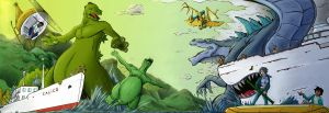 Hanna Barbera Godzilla Vs Sony Godzilla colored by gfan2332