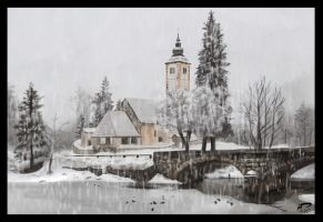 Snowy Church - Speedpaint by Majoh