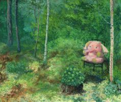 Forest Landscape With A Pink Elefant by AldemButcher