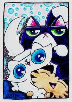 Funny cats tickle fun ACEO by KingZoidLord