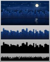 City At Night Vector Background and Skyline by mfcoelho