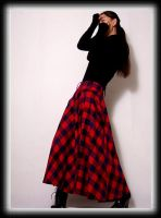 Red Blue Tartan Winter Skirt 3 by yystudio