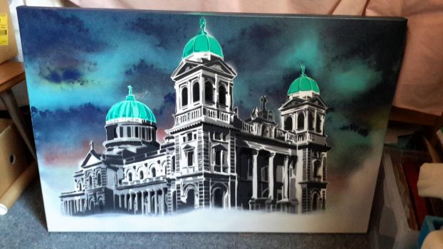 Christchurch Basilica in New Zealand by OpserStencils
