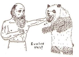Charles Darwin puching a Panda in the face by Rayleighev