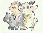 Poochyena, Vulpix, Houndour, Eevee and Growlithe by jed251
