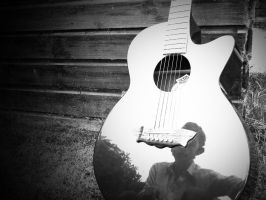 black and white guitar by chris3290