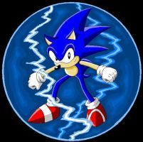 Sonic With Lightning Shield by Kryptid