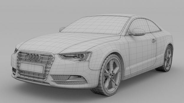 2012 Audi A5 Coupe - Clay/Wire render 1 by MeshWeaver