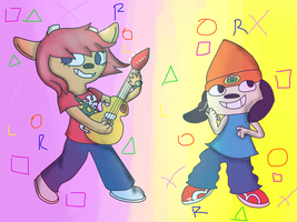 lammy and parappa (vector vs. mouse) by thisisspartacat1230