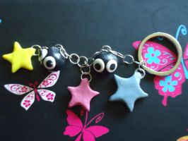 Handmade Soot Sprites with Candy Stars Key Chain by Queen-Of-Cute