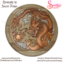 Copper Dragon Pyrograph (Woodburning) by snazzie-designz