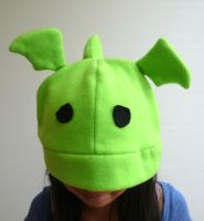 Sad Green Dragon Fleece Hat by kyra10987