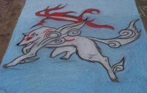Okami in Chalk by iwantmyanime