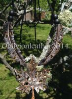 Leather Leaf and Feather Necklace 2 by Oblivionleather76