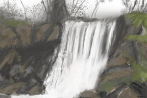 speed painting waterfall by Izarian-Hanar
