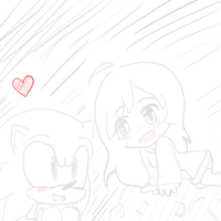 .::me and sonic sketch::. by Zumbuddie