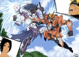 Naruto vs Sasuke Ninja Mecha by inuboy86