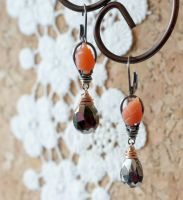 Peach Moonstone Pyrite Earrings by CrysallisCreations