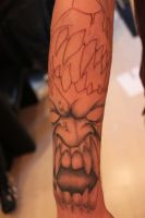 Darkness tattoo sleeve in progress (freehand) by Lucifine666